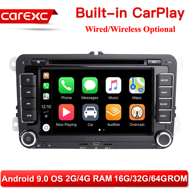 CarExc <font><b>7</b></font> Inch 2-DIN Android 9.0 Radio for Volkswagen <font><b>VW</b></font> Skoda Octavia <font><b>golf</b></font> 5 6 touran passat B6 jetta polo tiguan Built-in CarPlay With DVD GPS Navigation Car Muiltmedia Player System image