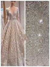 Tela de encaje de malla africana de moda con cuentas pesadas, gran oferta, tela de encaje bordado de SYJ 566838 para vestido de novia