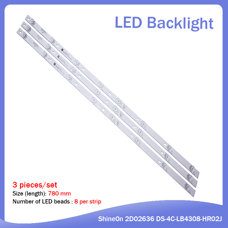 New 3 Pieces/setLED Backlight Strip 8 Lamp For TCL 43