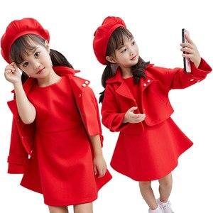 Одежда для маленьких девочек, модный шерстяной костюм красного цвета в студенческом стиле, одежда для девочек на новый год, зимнее плотное т...