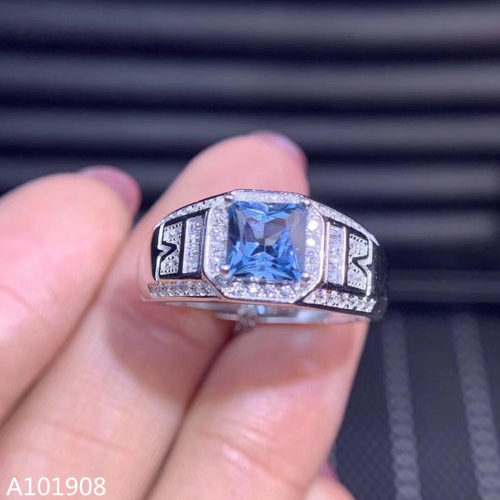 Jewelry Topaz-Ring 925-Sterling-Silver Blue Natural Inlaid KJJEAXCMY Models Support-Detection