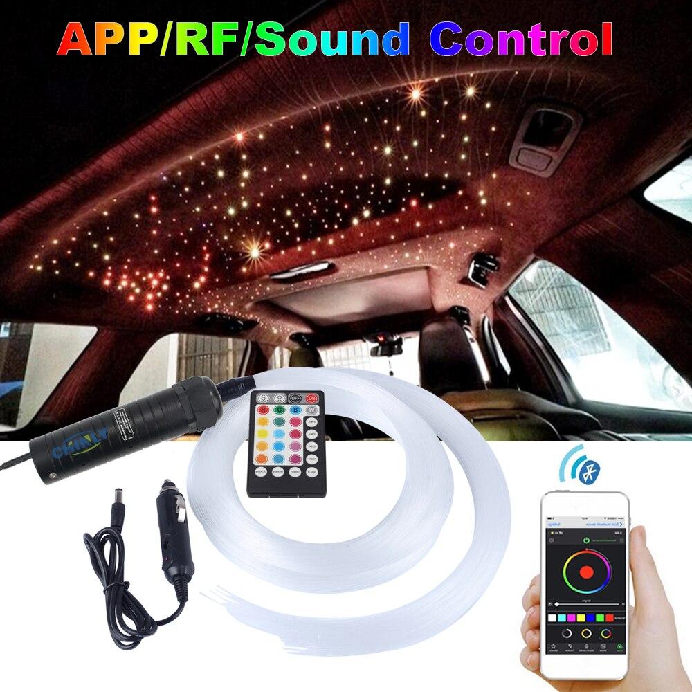 자동차 지붕 스타 조명 DC12V 6W RGB LED 플라스틱 광섬유 조명 RF 원격 제어 2M 0.75mm 100 ~ 200pcs 광섬유 조명