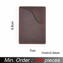 100 pieces / lot 9.8x7cm Genuine Cow Leather Business ID Card Holder Crazy Horse Leather Travel Credit Wallet Men Purse Case