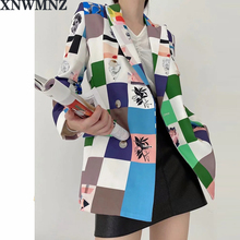 Za Double Breasted Floral Printed Female's Blazer Slim Fit C