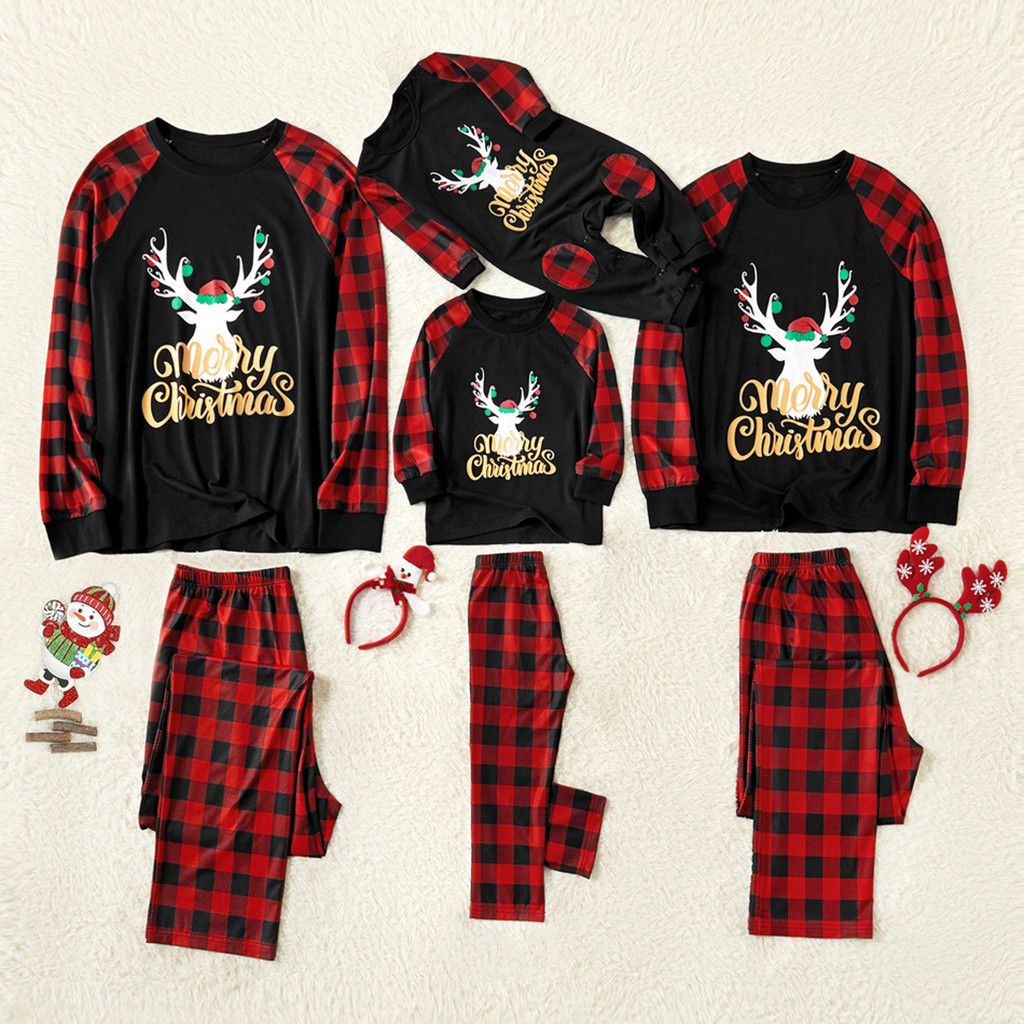 Mom Deer Tops Blouse Pants Family Pajamas Sleepwear Christmas Outfits Set Christmas Parent-child Family Wear