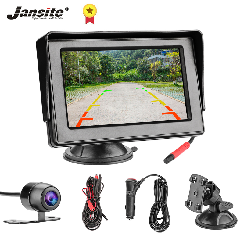Jansite 4 3inch TFT LCD Car Monitor Display Cameras Reverse Camera Parking System for Car Rearview Monitors reverse image NTSC PAL