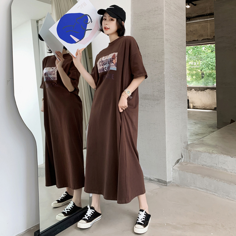 Summer Short-sleeved Nightgown Women's Coffee Clutch Shoes Skirt M-XXL 2 PCs Color