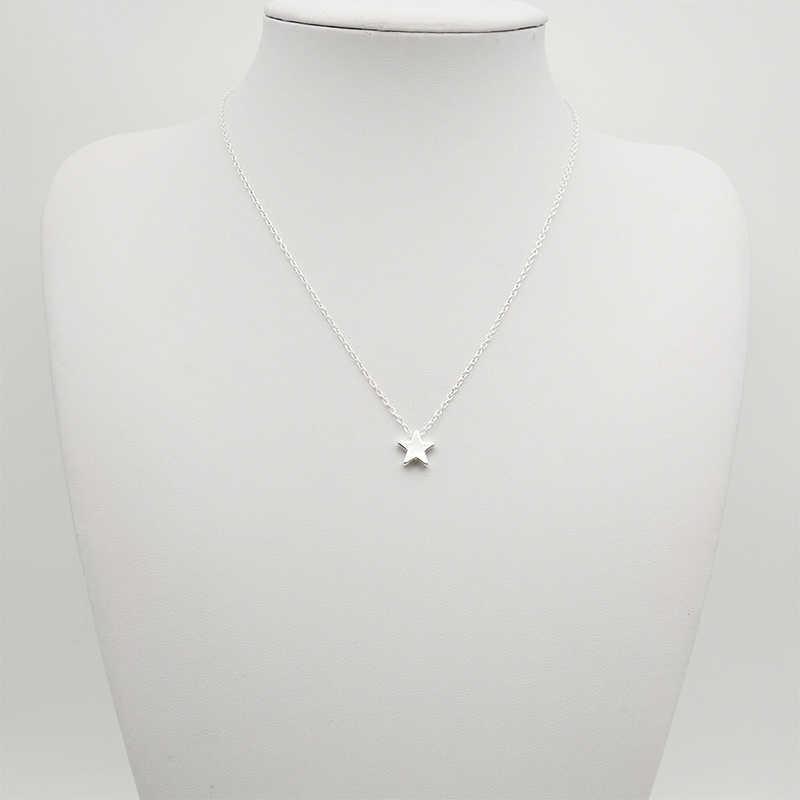 Moda simples estrela gargantilha colar para as mulheres elegante charming senhoras corrente de ouro pingente colares romântico valentine presentes da menina