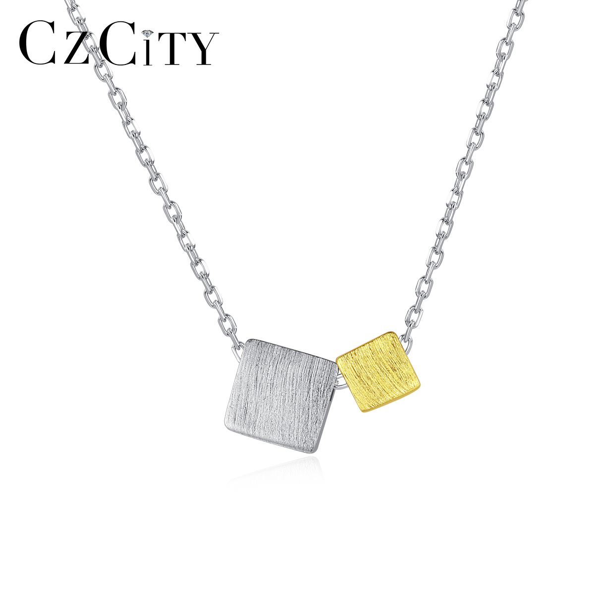 CZCITY New Design Big&Small Square 925 Sterling Silver Pendant Necklace For Women Silver&Gold Color Trendy Fine Jewelry SN034S