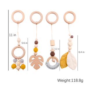 Image 1 - Baby Wooden Teether Pendant Baby Play Gym Set Sensory Ring Pull Beech Ring Crochet Bead ChildrenS Goods Wooden Blank Cotton Toy