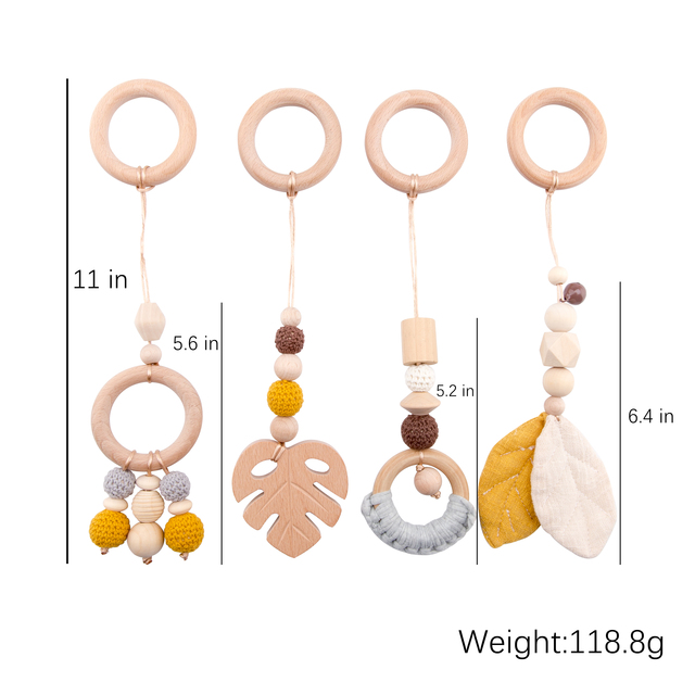 Baby Wooden Teether Pendant Baby Play Gym Set Sensory Ring Pull Beech Ring Crochet Bead ChildrenS Goods Wooden Blank Cotton Toy