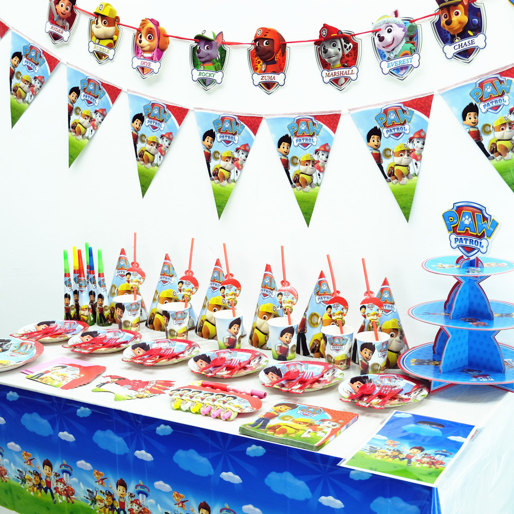 Paw Patrol Birthday Party Tableware Suit Holiday Supplies Cup Plate Spoon Set Activity Event Decoration  Parties Supplie