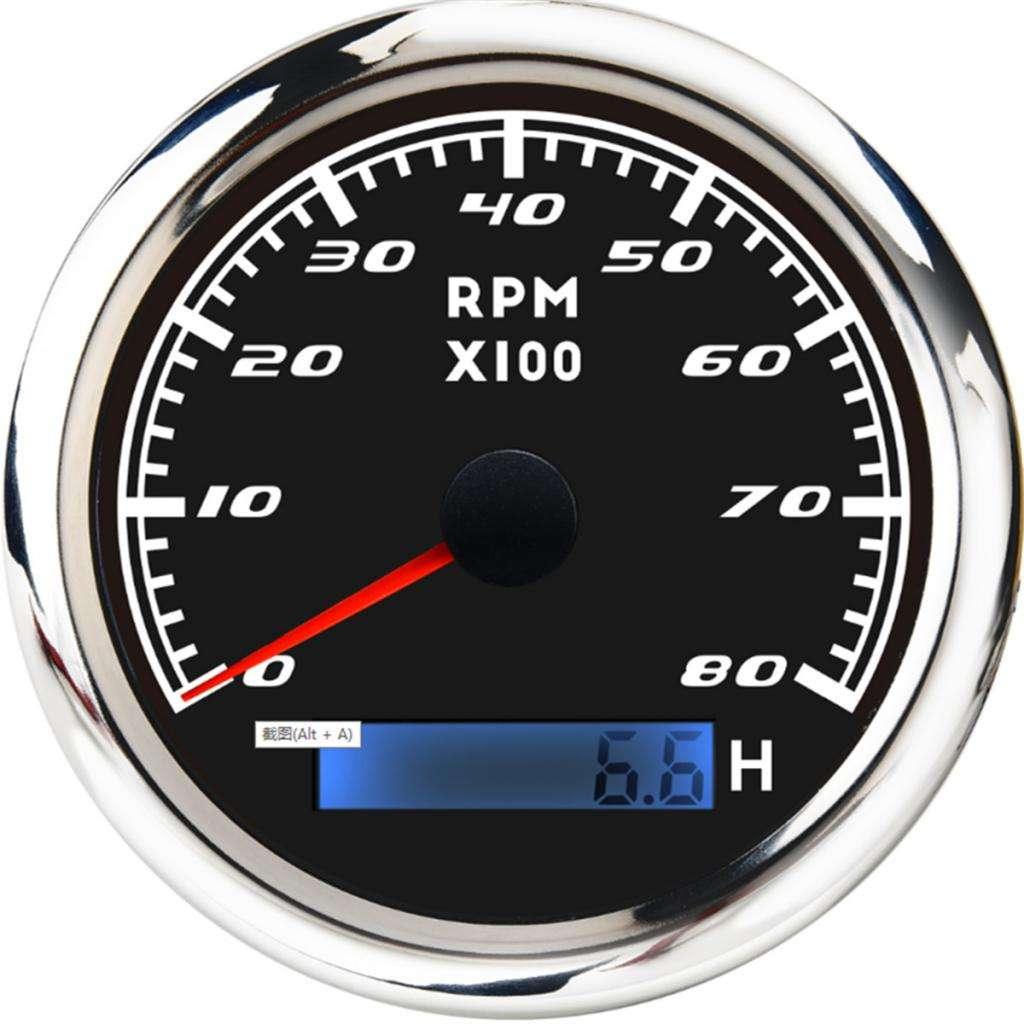 8000 RPM 85mm Marine Boat Tachometer Gauge Tacho Meter LCD Hourmeter
