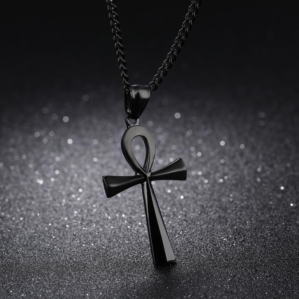 OPK personnalité gravure plaque compacte acier inoxydable ancienne croix égyptienne collier pendentif homme - 3