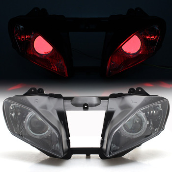 Motorcycle Custom Headlight Assembly HID Projector Conversion Headlamp LED Red Angel Eyes For Yamaha YZF YZF R6 2008-2015 image