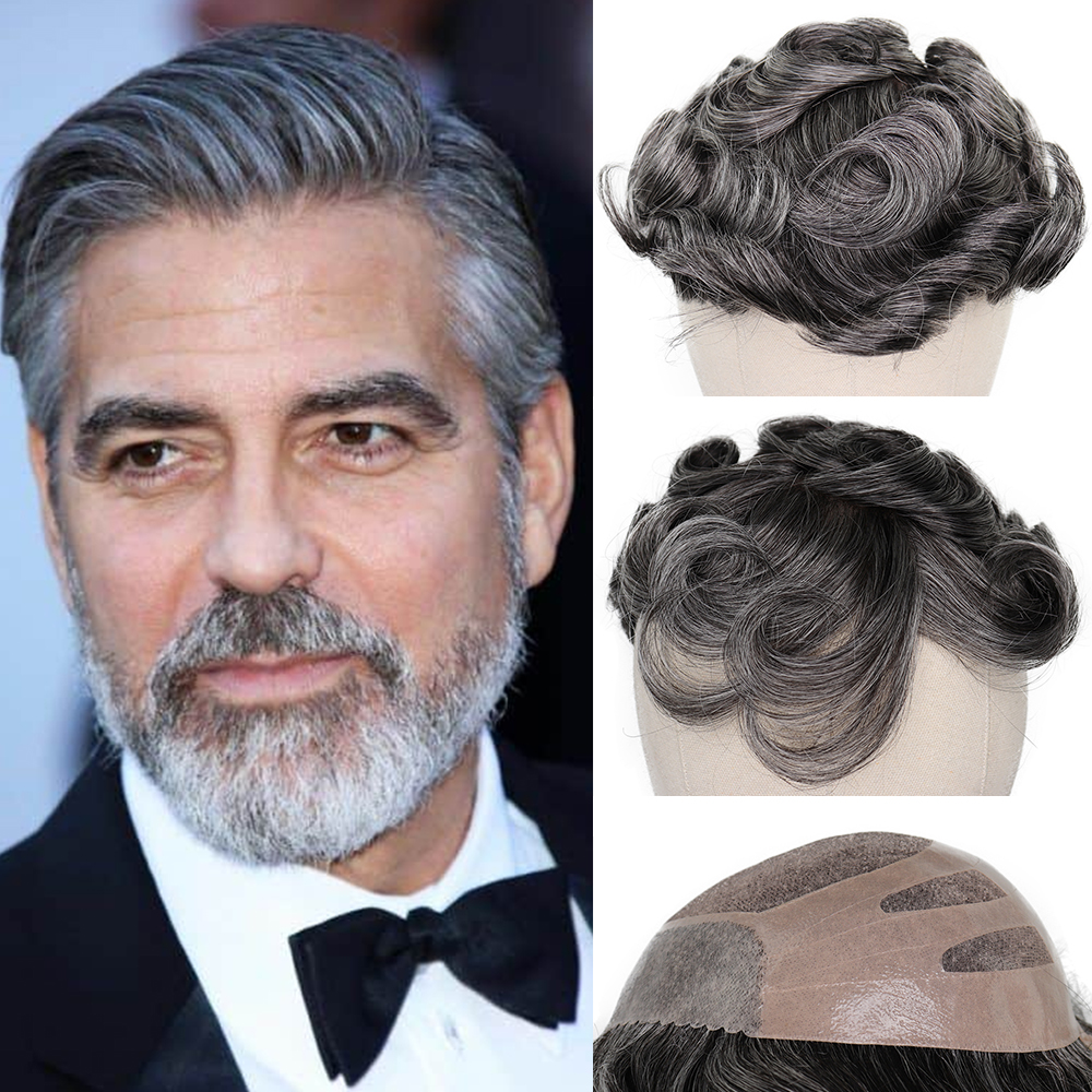 YY Wigs 1B 50% Grey Human Hair Men Toupee Bond Swiss Lace & Skin PU Human Hair Toupee For Men Hair Replacement System