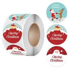 500 шт 15 дюймов Счастливого Рождества Стикеры с изображением