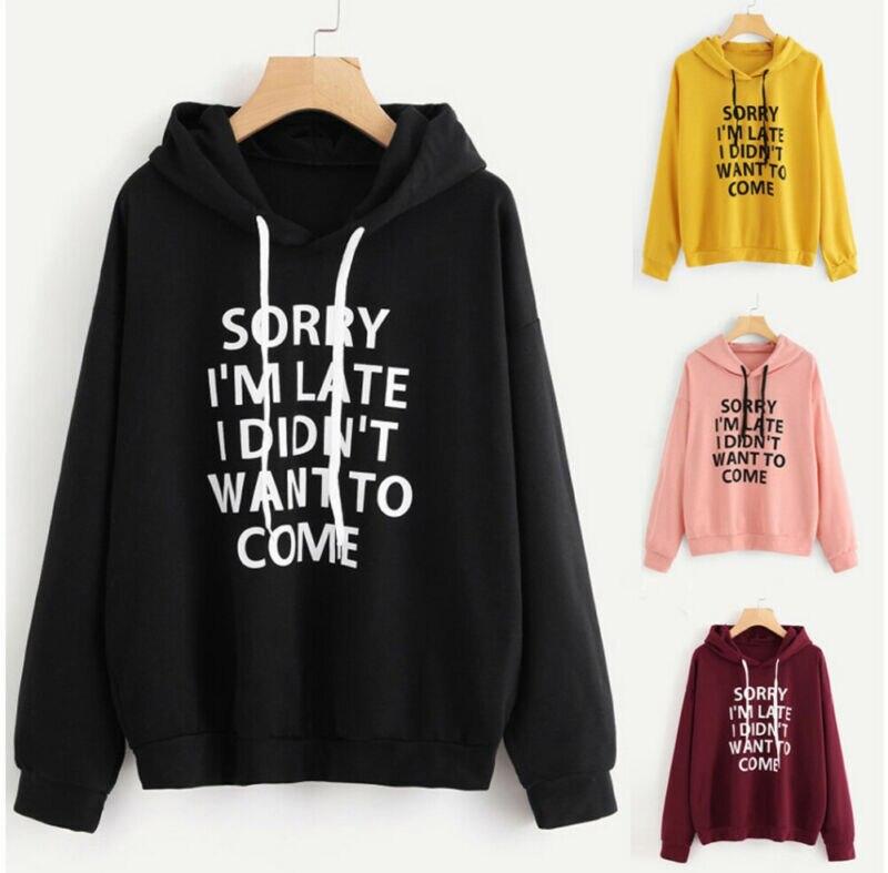 Ladies Women's Hoodie Sweatshirt Letter Print Long Sleeve Pullover Jumper Tops