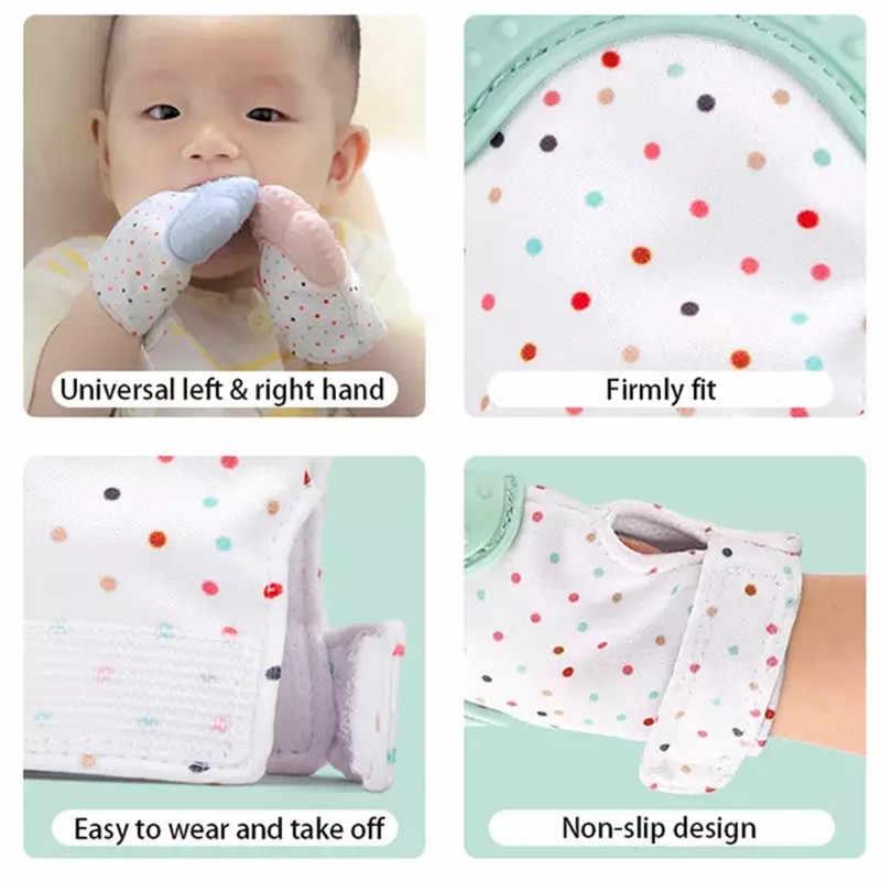 Детские Силиконовые митенки для прорезывания зубов, перчатки для прорезывания зубов со звуком, жевательные рукавицы для новорожденных, Прорезыватель зубов, натуральные игрушки для остановки сосания-«пальцы»