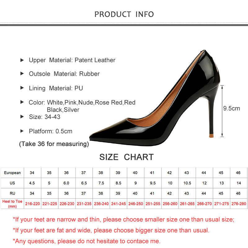 2020 Baru Wanita Pumps 9.5 Cm Tinggi Tipis Tumit Menunjuk Toe Solid Dangkal Wanita Seksi Wanita Hitam Wanita Tinggi heels Pompa