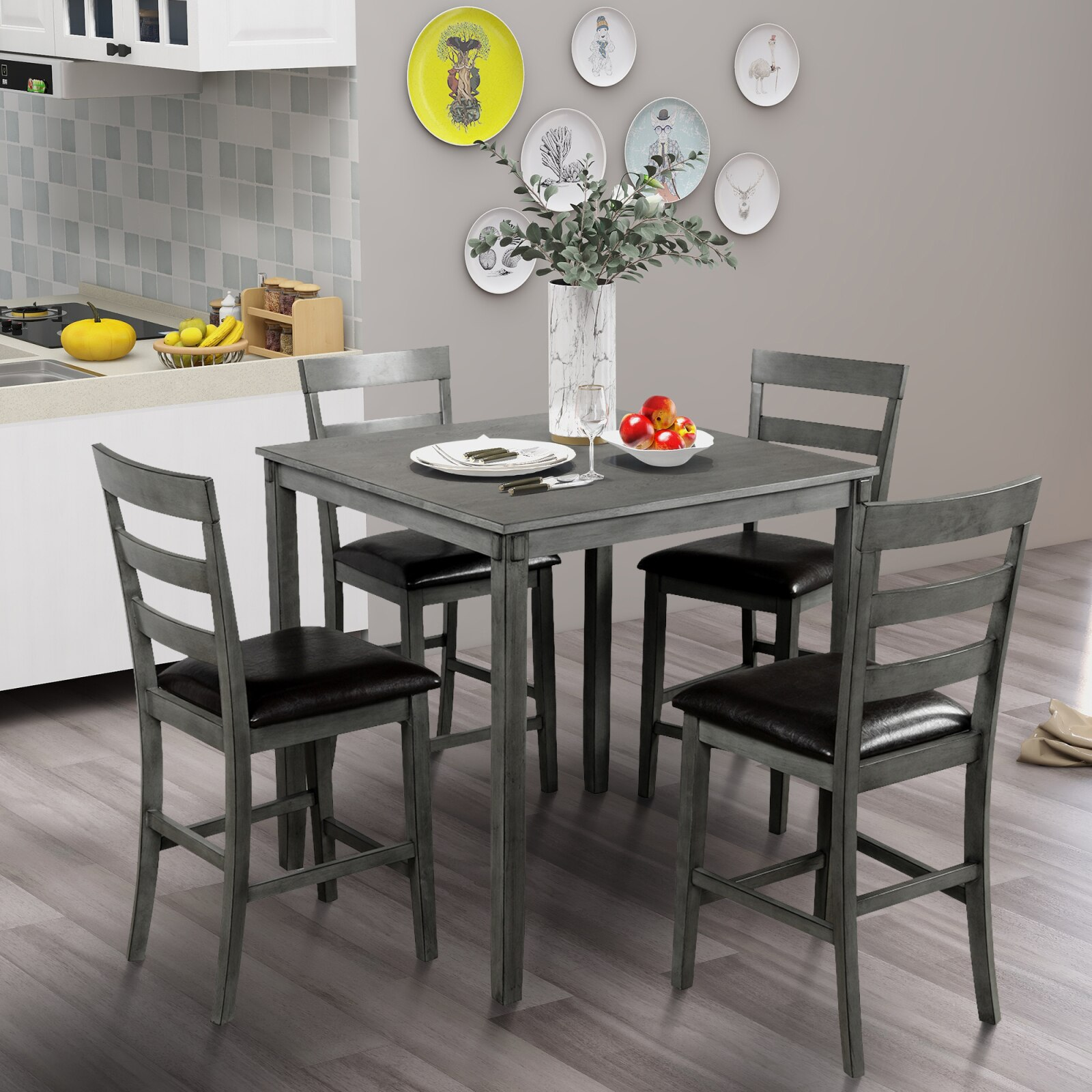 Square Counter Height Wooden Kitchen Dining Set, Dining Room Set With Table And 4 Chairs (Grey) 1