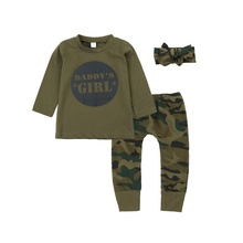 Spring Autumn Casual Baby Camouflage Long Sleeve Top And Trousers Kids Two-piece Outfit Set #p