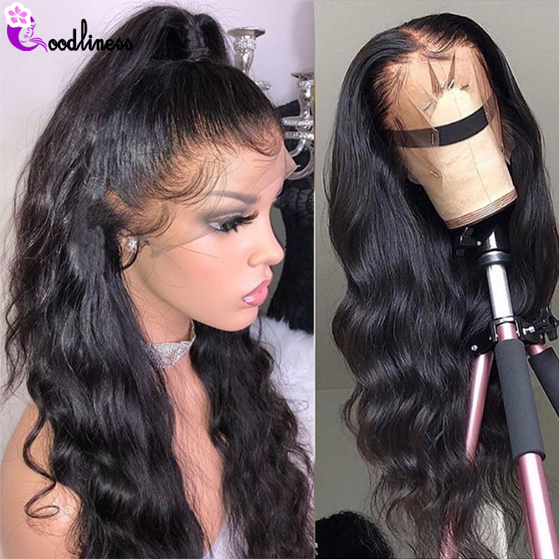 Transparent 13x6 Lace Front Wig Glueless Brazilian Body Wave Human Hair Wigs Pre Plucked Remy Natural Black Long HD Lace Wig