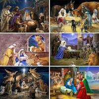 Pintura de diamantes 5D DIY, bordado religioso de Jesús, nacimiento, arte de Navidad, conjunto de mosaico redondo cuadrado completo, punto de cruz, regalo de decoración del hogar