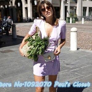 Kobiety V dekolt krótkie rękawy gąbina Wrap sukienka Polka Dot druku fioletowy Mini sukienka szata gąbina