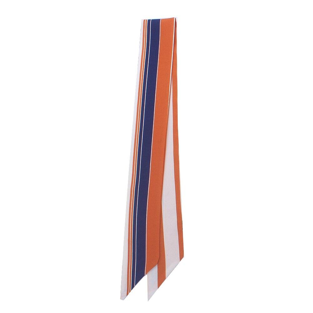 90cm*5cm Long Small Multicolor Stripe Skinny Scarf New Luxury Brand Silk Scarf Women Fashion Bag Head Scarves For Ladies Tie