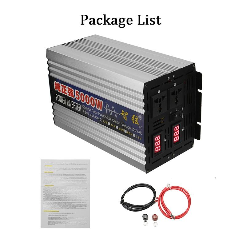 LED Display Car Inverter 12V 220V 2000W 3000W 4000W 5000W DC 12V To AC 220V Pure Sine Wave Voltage Transformer Power Converter