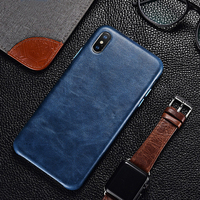 For iPhone X XS XR Genuine Leather Back Case iPhone 7 8 Retro Protective Cover Slim Business Phone Case for Apple iPhone XS Max