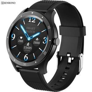 Image 1 - SENBONO كامل اللمس S6 ساعة ذكية IP67 مقاوم للماء الذكور معدل ضربات القلب ضغط الدم رصد Smartwatch سوار لياقة بدنية
