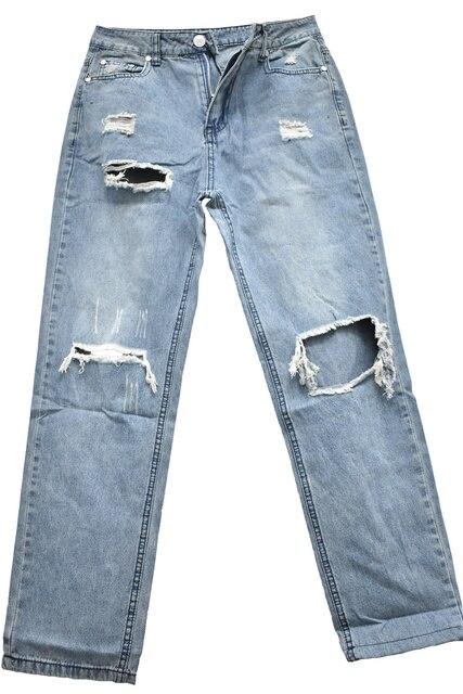 Baggy Jeans Straight Leg Ripped Jeans For Women Fashion Loose High Streetwear Women High Waist Pants Hole Boyfriend Trousers 5