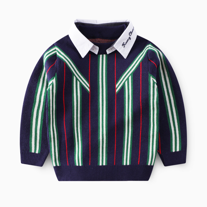 2020 Autumn Winter Boys Knitted Striped Sweater Toddler Kids Long Sleeve Pullover Children's Fashion Sweaters Clothes for Boys 7