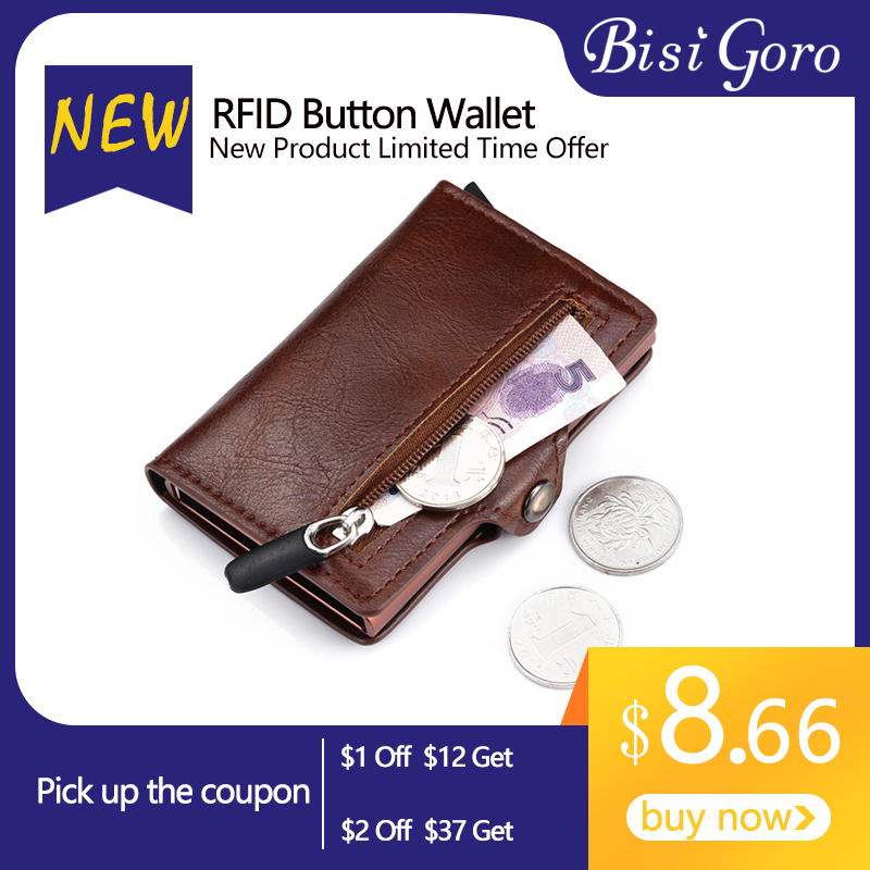 BISI GORO New 2020 Short RFID Blocking Card Wallet PU Leather Card Holder Money Bag Safety Multifunctional Card Case Cion Purse