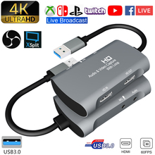Tarjeta de captura de vídeo USB 1080 a HDMI Dual 4K, P, 60fps, PS4, XBOX Game, Audio en vivo, Youtube, Transmisión en Facebook