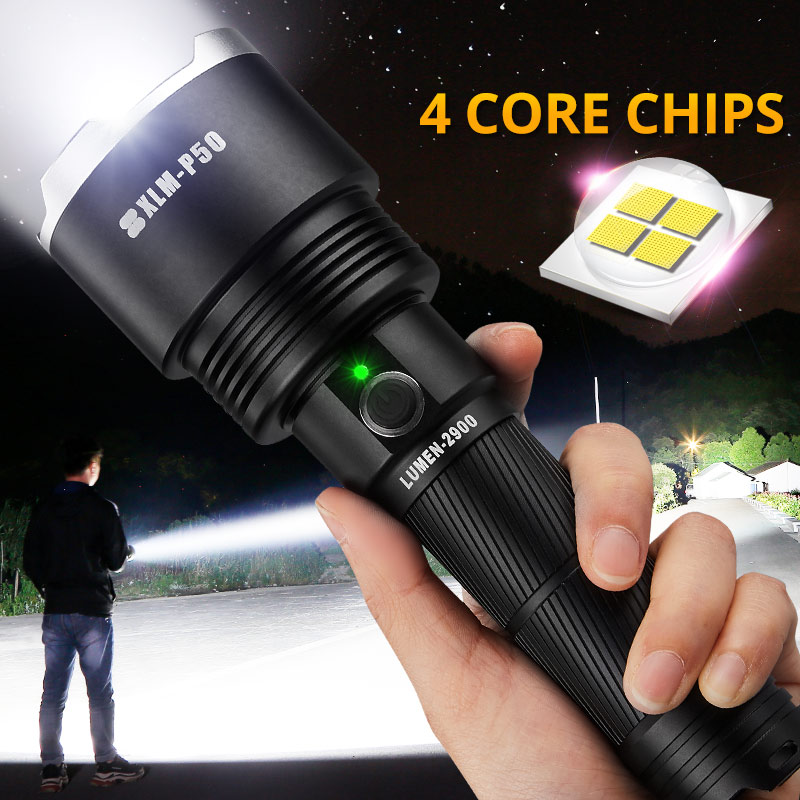 LED, Lamp, Tactical, USB, Rechargeable, Flashlight