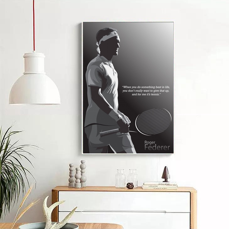 roger federer quote poster canvas print wall art home decor no frame
