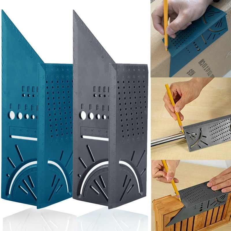 3D 측정 스퀘어 크기 목공 측정 도구 라인 90도 게이지 T 형 통치자 구멍 Scribing 게이지 측정 도구