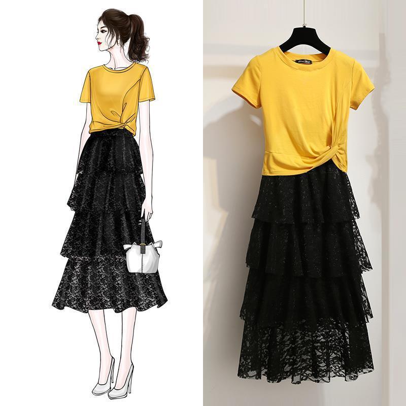 692 #2019 New Style Skirt WOMEN'S Overskirt Immortal Mid-length Cake Dress Dress Outfit Women's Summer Two-Piece Set Summer Wear