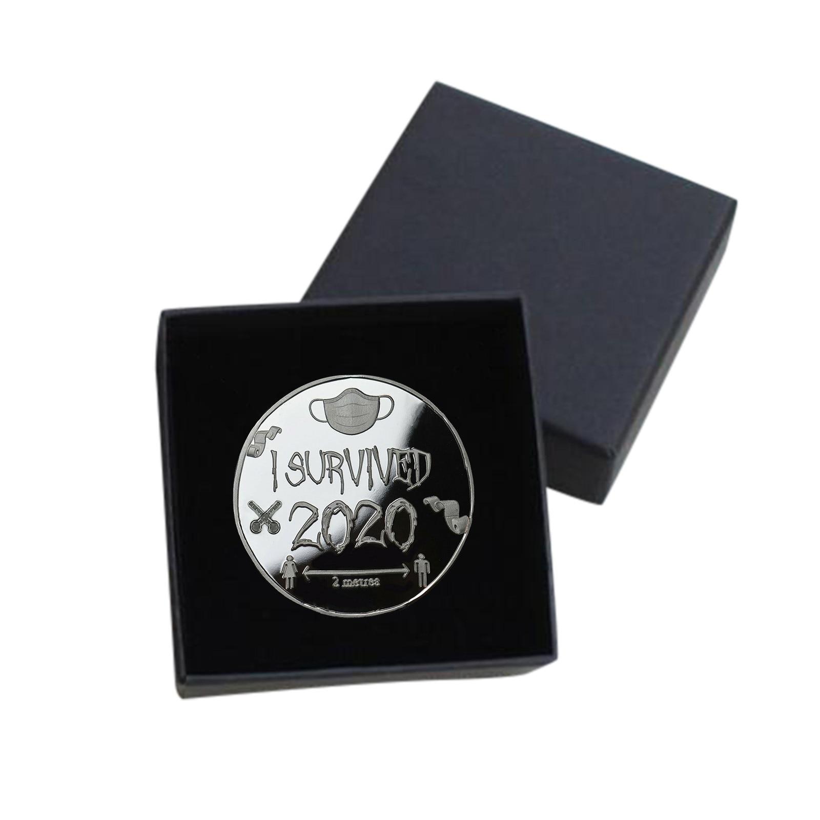 Eu sobrevivi 2020 medalha e conjunto comemorativo colecionadores de moedas lembrança presente 2020 moeda comemorativa com caixa decoração para casa