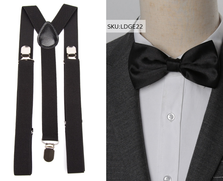 Orange Suspender and BowTie Set Wedding Formal Tuxedo Adults Men Women USA