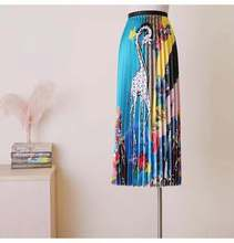high waisted pleated A word skirt women solid color ruffle Elastic Waist Print Maxi Dress Medium