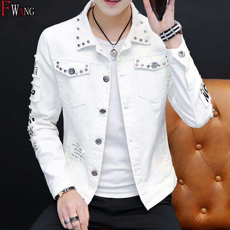 Оптовая продажа, Осень-зима 2020, модная хип-хоп белая джинсовая куртка, мужская Ковбойская джинсовая одежда с рваными дырками, куртка с закле...