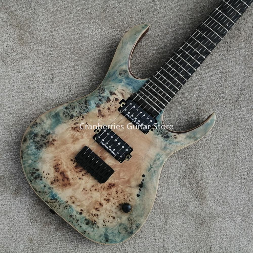 Custom shop, Duve MODEL,Matt Finished 7 Strings Electric Guitar,burl wood top,Ebony Fretboard,Free Shipping image