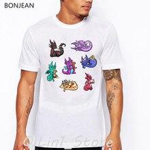 Colorful dragons aniaml print t-shirt men funny t shirts camisetas hombre tumblr tops tee shirt homme white tshirt streetwear цена и фото