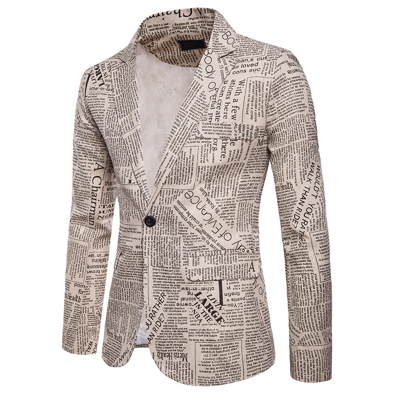 Men's Slim Fit Newspaper Suit Jacket Brand One Button Notched Lapel Suit Blazer Male Party Wedding Business Casual Costume Homme 1