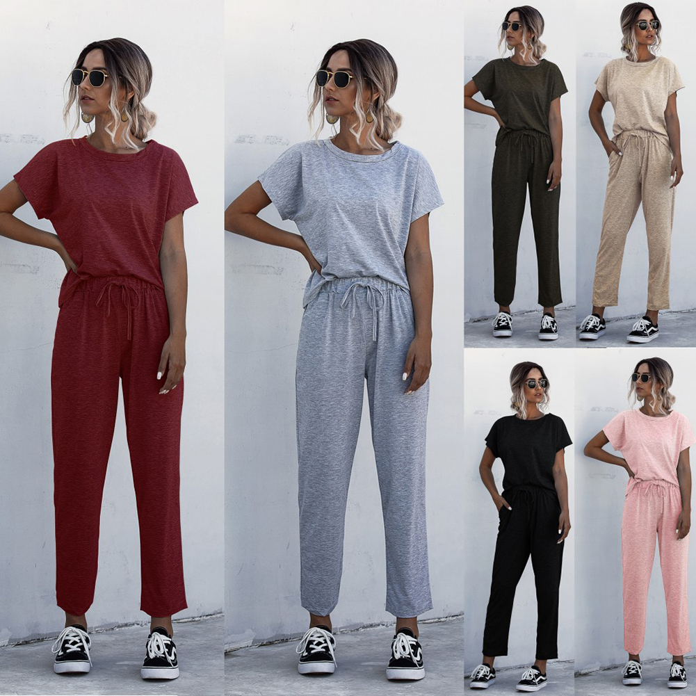 6 Color Women Summer Tracksuits 2 Piece Set Solid Color Lounge Wear Short Sleeve O-Neck Tops Long Pants Sweatsuits
