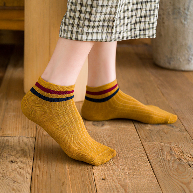 1 Pair Women Socks Cotton Ankle Socks College Style Short Striped Socks Colorful Comfortable Cool Socks